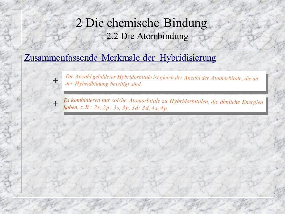 2 Die chemische Bindung 2.2 Die Atombindung Zusammenfassende Merkmale der Hybridisierung +
