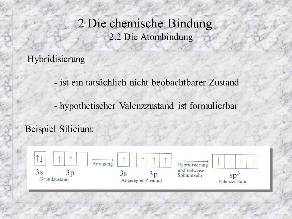 2 Die chemische Bindung 2.2 Die Atombindung Hybridisierung - ist ein tatsächlich nicht beobachtbarer Zustand - hypothetischer Valenzzustand ist formul