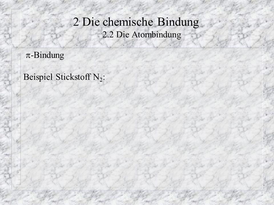 2 Die chemische Bindung 2.2 Die Atombindung  -Bindung Beispiel Stickstoff N 2 :