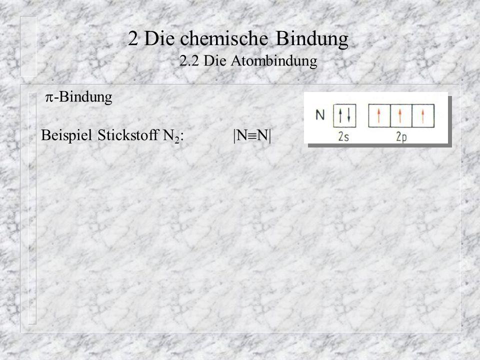 2 Die chemische Bindung 2.2 Die Atombindung  -Bindung Beispiel Stickstoff N 2 :  N  N 