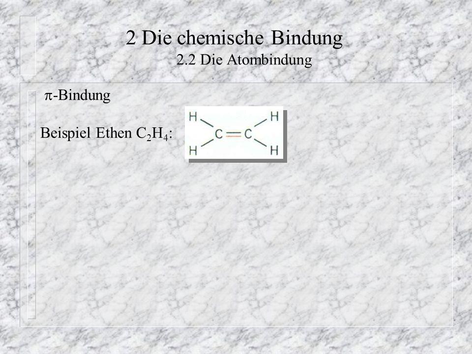 2 Die chemische Bindung 2.2 Die Atombindung  -Bindung Beispiel Ethen C 2 H 4 :