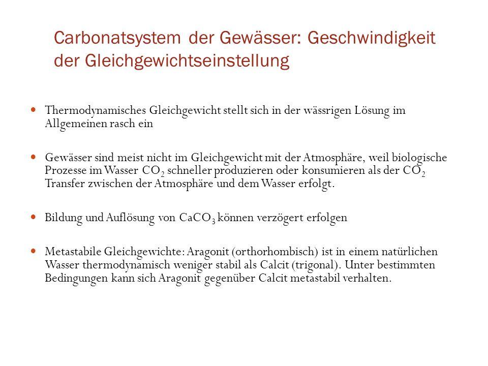 Carbonatsystem der Gewässer: Geschwindigkeit der Gleichgewichtseinstellung Thermodynamisches Gleichgewicht stellt sich in der wässrigen Lösung im Allg