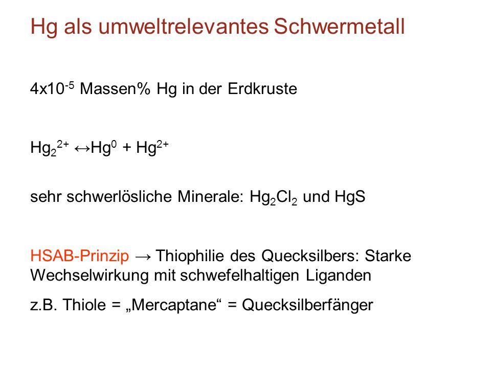 Hg als umweltrelevantes Schwermetall 4x10 -5 Massen% Hg in der Erdkruste Hg 2 2+ ↔Hg 0 + Hg 2+ sehr schwerlösliche Minerale: Hg 2 Cl 2 und HgS HSAB-Pr