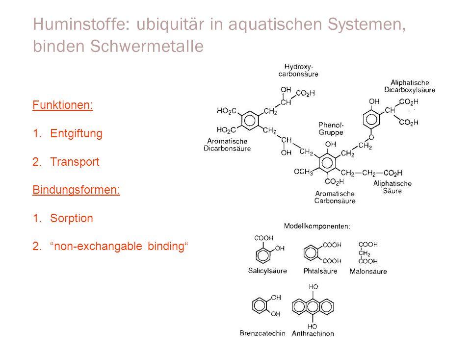 """Huminstoffe: ubiquitär in aquatischen Systemen, binden Schwermetalle Funktionen: 1.Entgiftung 2.Transport Bindungsformen: 1.Sorption 2.""""non-exchangabl"""