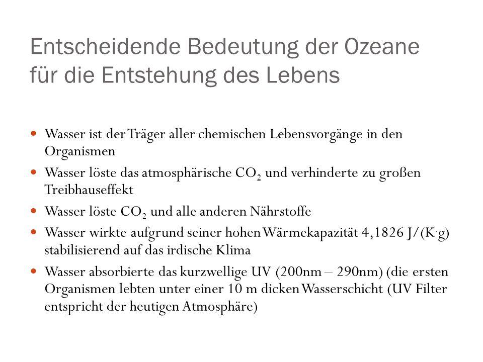 Gelöste Kieselsäure Flusswasser und Meerwasser enthalten gelöste Kieselsäure in sehr geringen Konzentrationen Daher keine chemische Ausfällung Im SiO 2 Kreislauf des Ozeans ist Ausfällung von Kieselsäure nur durch Organismen möglich.