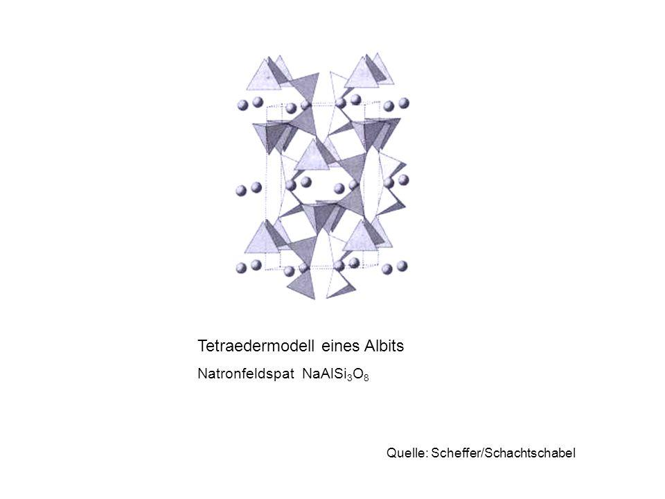Tetraedermodell eines Albits Natronfeldspat NaAlSi 3 O 8 Quelle: Scheffer/Schachtschabel