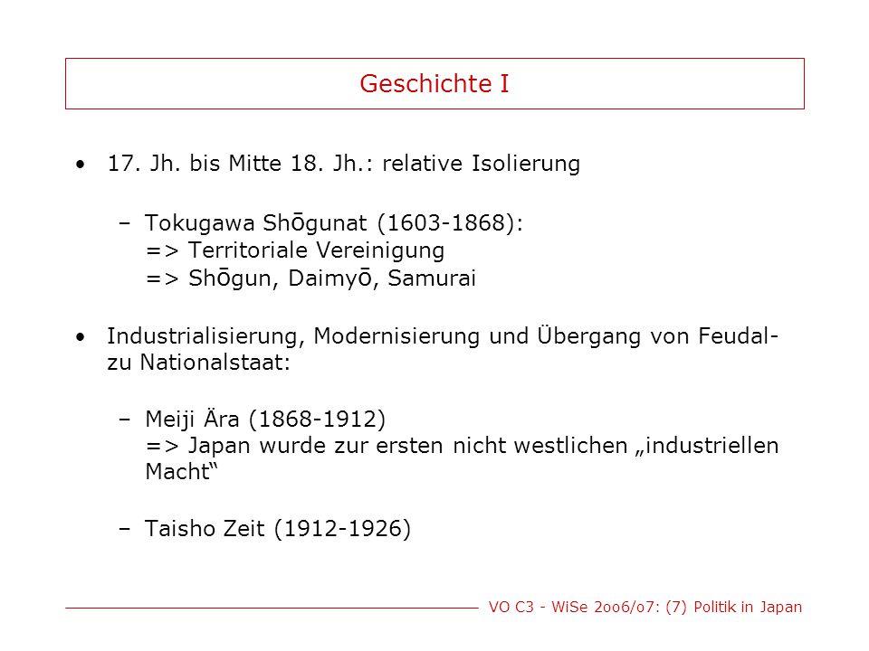 VO C3 - WiSe 2oo6/o7: (7) Politik in Japan Geschichte II Zunehmende Militarisierung: begann 1931 mit Besetzung der Mandschurei und endete mit der Kapitulation am 2.9.1945 (Ende des 2.