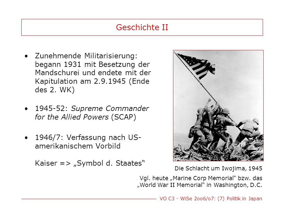 VO C3 - WiSe 2oo6/o7: (7) Politik in Japan Geschichte II Zunehmende Militarisierung: begann 1931 mit Besetzung der Mandschurei und endete mit der Kapi