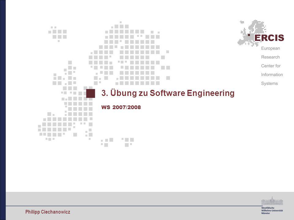1 Übung zu Software Engineering im WS 2007/2008 Philipp Ciechanowicz Aufgabe 4 Betrachten Sie das unten dargestellte Klassendiagramm, das für eine Bibliothek zur Verwaltung ihrer Buchbestände modelliert wurde.