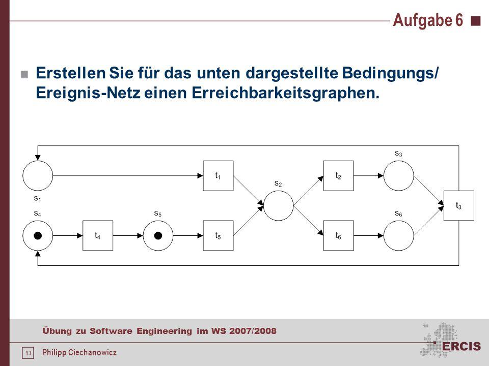 13 Übung zu Software Engineering im WS 2007/2008 Philipp Ciechanowicz Aufgabe 6 Erstellen Sie für das unten dargestellte Bedingungs/ Ereignis-Netz einen Erreichbarkeitsgraphen.