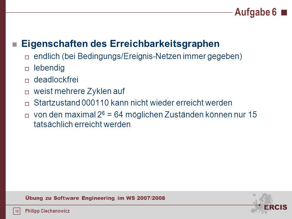16 Übung zu Software Engineering im WS 2007/2008 Philipp Ciechanowicz Aufgabe 6 Eigenschaften des Erreichbarkeitsgraphen endlich (bei Bedingungs/Ereignis-Netzen immer gegeben) lebendig deadlockfrei weist mehrere Zyklen auf Startzustand 000110 kann nicht wieder erreicht werden von den maximal 2 6 = 64 möglichen Zuständen können nur 15 tatsächlich erreicht werden