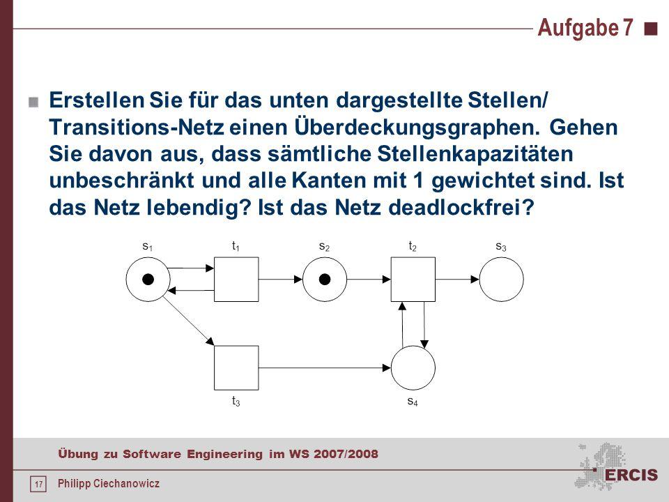 17 Übung zu Software Engineering im WS 2007/2008 Philipp Ciechanowicz Aufgabe 7 Erstellen Sie für das unten dargestellte Stellen/ Transitions-Netz einen Überdeckungsgraphen.