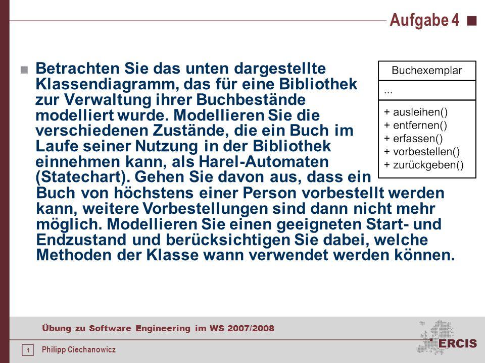 22 Übung zu Software Engineering im WS 2007/2008 Philipp Ciechanowicz Literatur W.