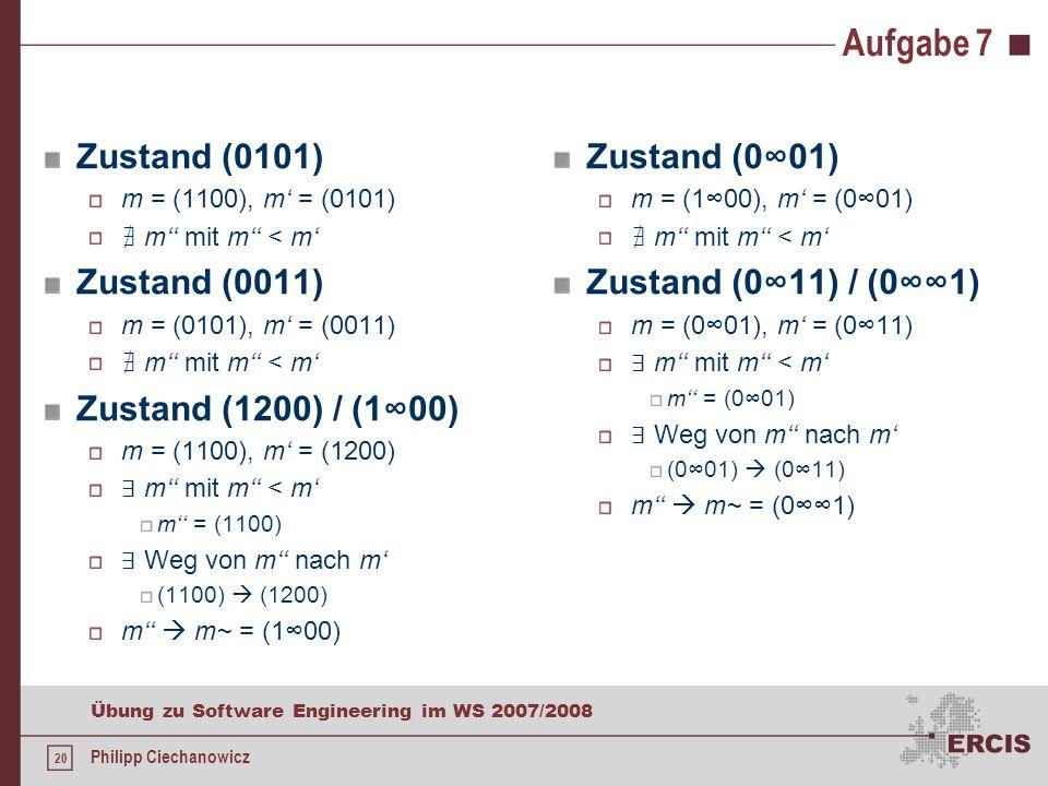 20 Übung zu Software Engineering im WS 2007/2008 Philipp Ciechanowicz Aufgabe 7 Zustand (0101) m = (1100), m' = (0101) ∄ m'' mit m'' < m' Zustand (0011) m = (0101), m' = (0011) ∄ m'' mit m'' < m' Zustand (1200) / (1∞00) m = (1100), m' = (1200) ∃ m'' mit m'' < m' m'' = (1100) ∃ Weg von m'' nach m' (1100)  (1200) m''  m~ = (1∞00) Zustand (0∞01) m = (1∞00), m' = (0∞01) ∄ m'' mit m'' < m' Zustand (0∞11) / (0∞∞1) m = (0∞01), m' = (0∞11) ∃ m'' mit m'' < m' m'' = (0∞01) ∃ Weg von m'' nach m' (0∞01)  (0∞11) m''  m~ = (0∞∞1)