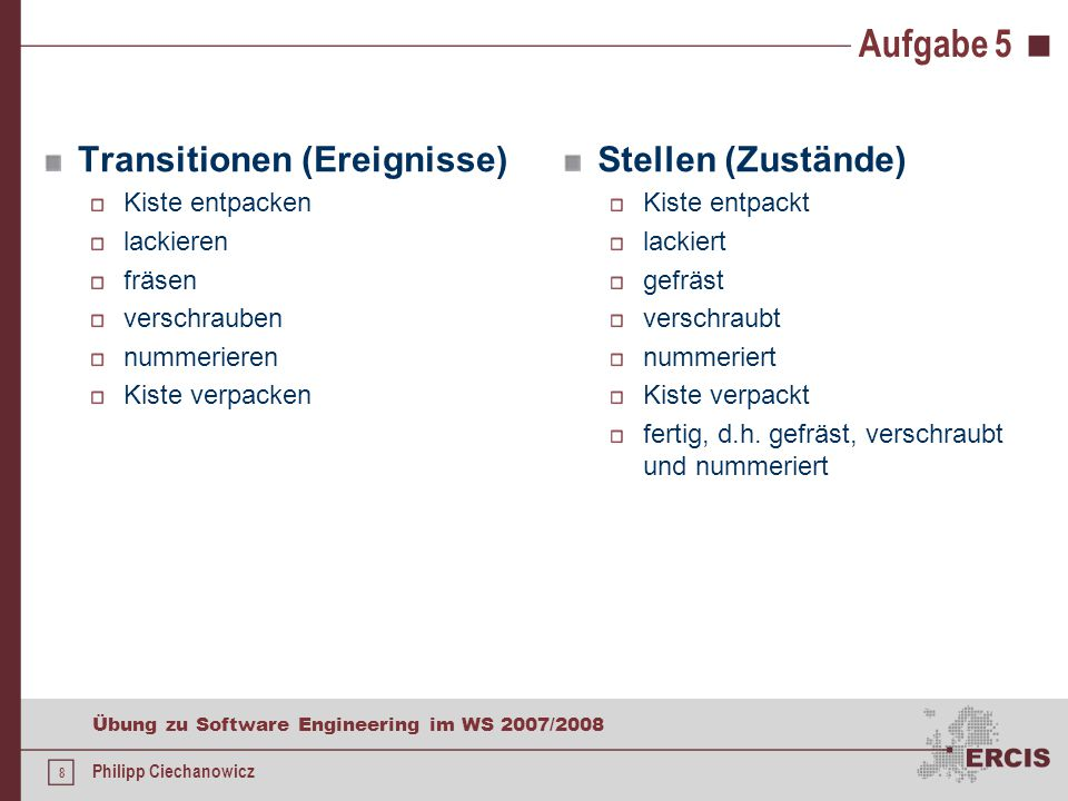 8 Übung zu Software Engineering im WS 2007/2008 Philipp Ciechanowicz Aufgabe 5 Transitionen (Ereignisse) Kiste entpacken lackieren fräsen verschrauben nummerieren Kiste verpacken Stellen (Zustände) Kiste entpackt lackiert gefräst verschraubt nummeriert Kiste verpackt fertig, d.h.