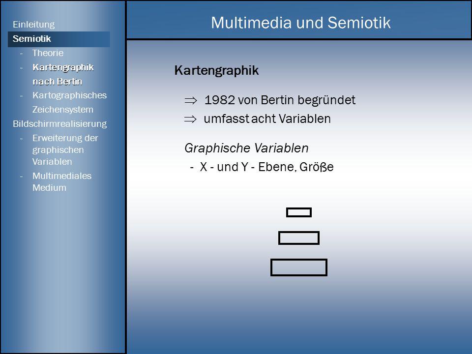 Kartengraphik  1982 von Bertin begründet  umfasst acht Variablen Graphische Variablen - X - und Y - Ebene, Größe Multimedia und Semiotik Einleitung