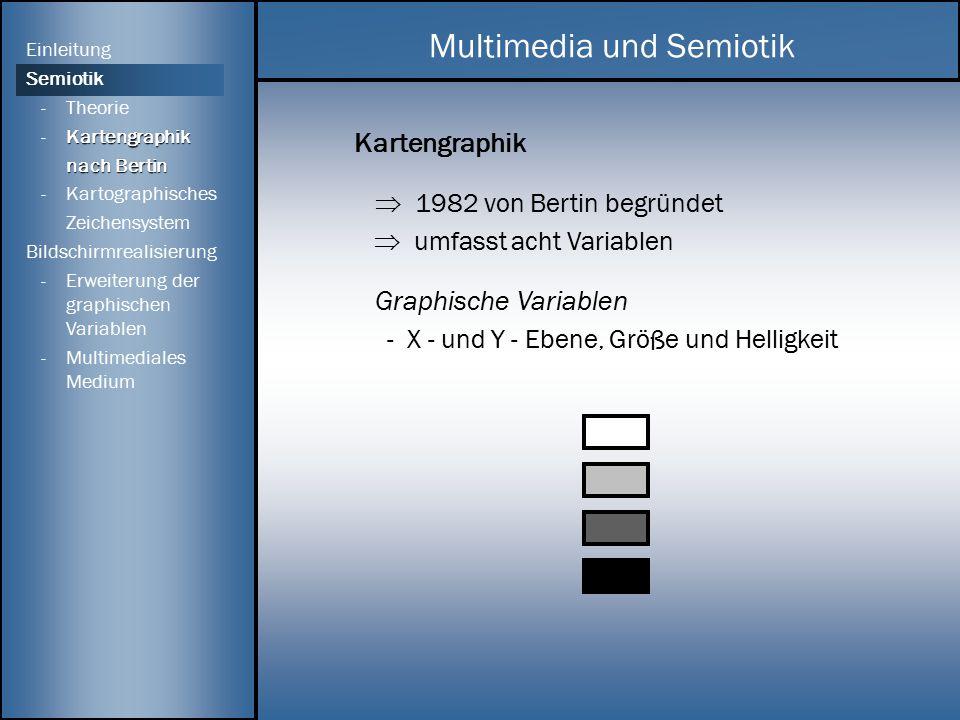 Kartengraphik  1982 von Bertin begründet  umfasst acht Variablen Graphische Variablen - X - und Y - Ebene, Größe und Helligkeit Multimedia und Semio