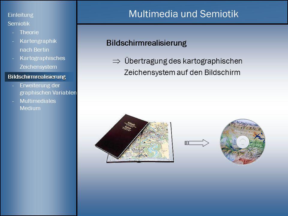 Bildschirmrealisierung  Übertragung des kartographischen Zeichensystem auf den Bildschirm Multimedia und Semiotik Einleitung Semiotik - Theorie -Kart