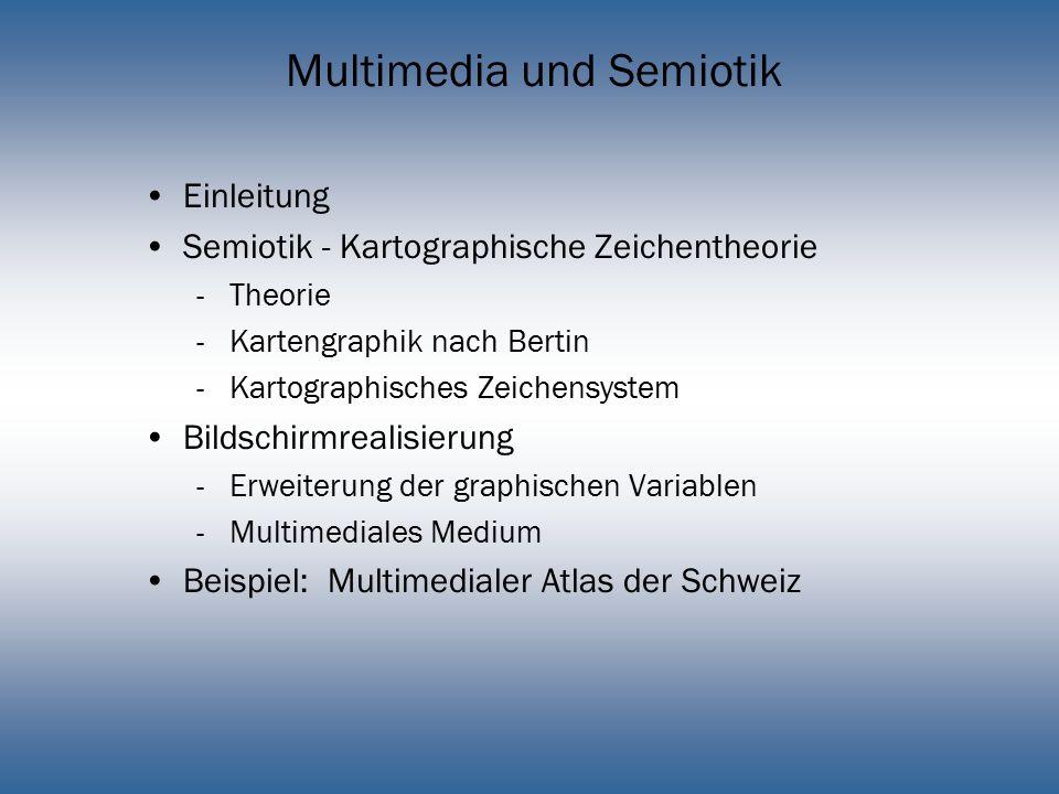 Multimedia und Semiotik Einleitung Semiotik - Kartographische Zeichentheorie -Theorie -Kartengraphik nach Bertin -Kartographisches Zeichensystem Bilds