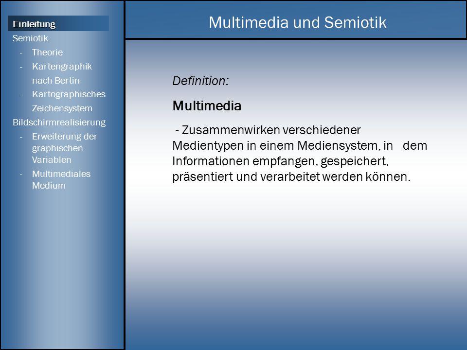 Definition: Semiotik - Lehre von den Zeichen Die Kartographische Zeichentheorie ist notwendig für die kartographische Kommunikation.
