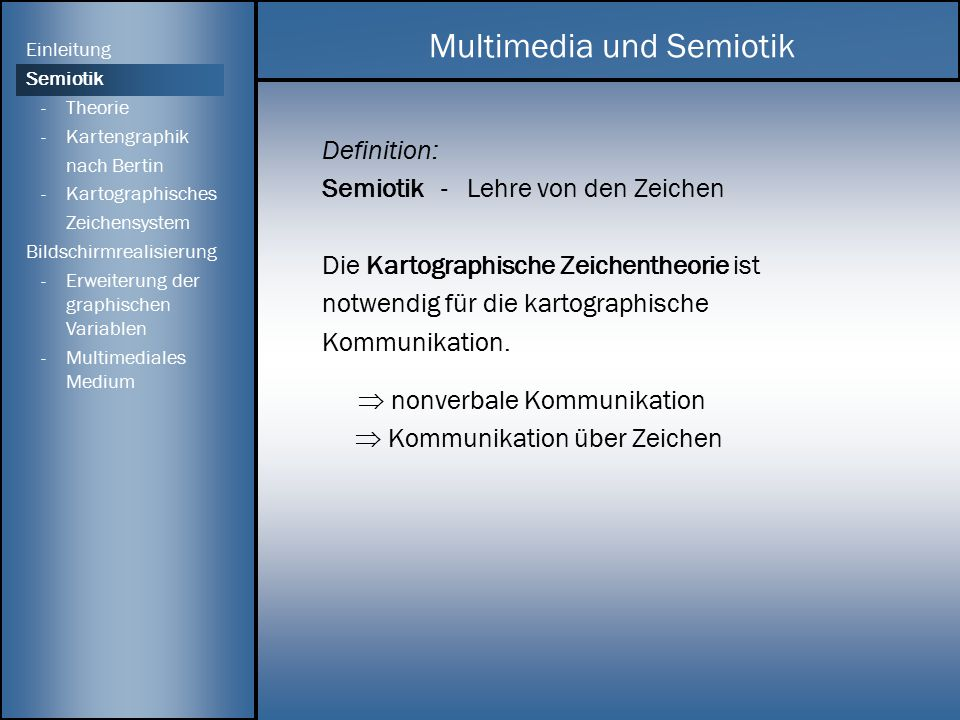 Definition: Semiotik - Lehre von den Zeichen Die Kartographische Zeichentheorie ist notwendig für die kartographische Kommunikation.  nonverbale Komm