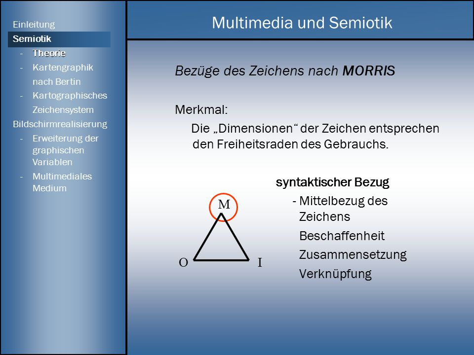 """Bezüge des Zeichens nach MORRIS Merkmal: Die """"Dimensionen"""" der Zeichen entsprechen den Freiheitsraden des Gebrauchs. syntaktischer Bezug - Mittelbezug"""