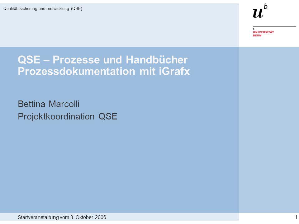 Startveranstaltung vom 3. Oktober 2006 Qualitätssicherung und -entwicklung (QSE) 1 QSE – Prozesse und Handbücher Prozessdokumentation mit iGrafx Betti