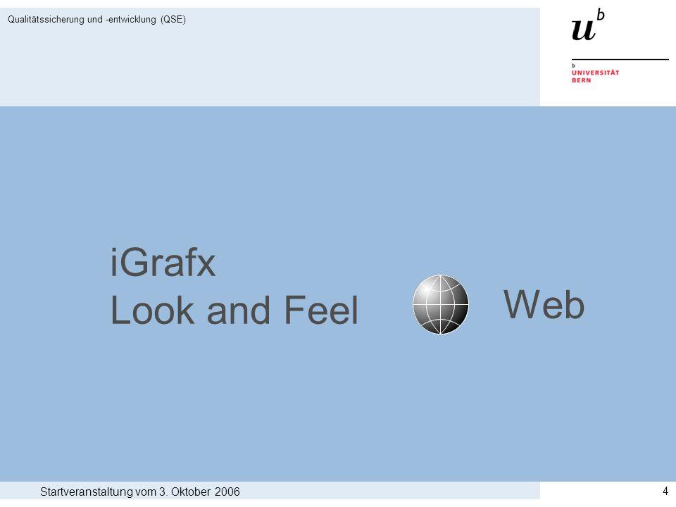 Startveranstaltung vom 3. Oktober 2006 Qualitätssicherung und -entwicklung (QSE) 4 iGrafx Look and Feel Web