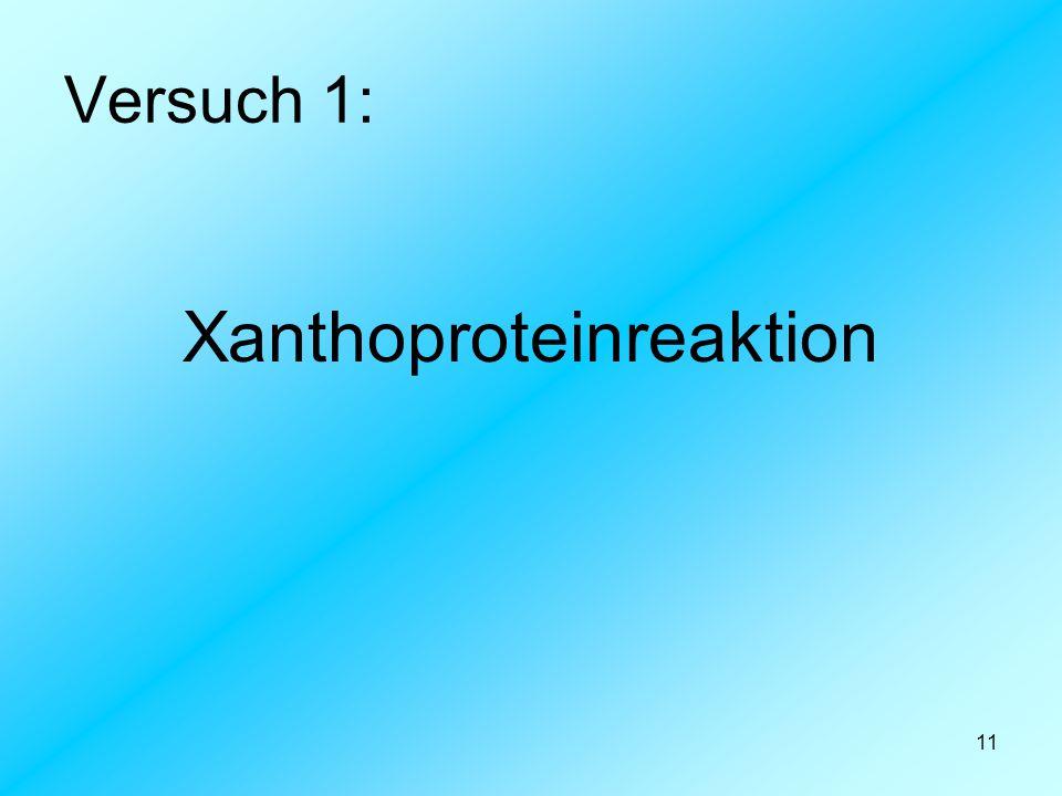 11 Versuch 1: Xanthoproteinreaktion
