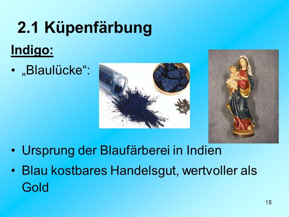 """15 2.1 Küpenfärbung Indigo: """"Blaulücke"""": Ursprung der Blaufärberei in Indien Blau kostbares Handelsgut, wertvoller als Gold"""