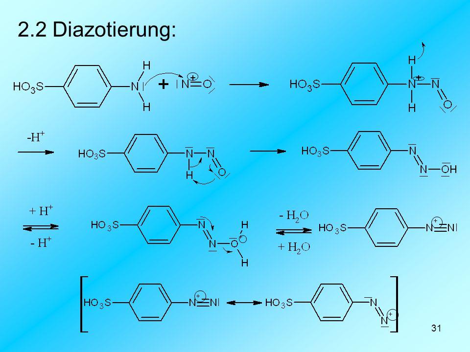 31 2.2 Diazotierung: