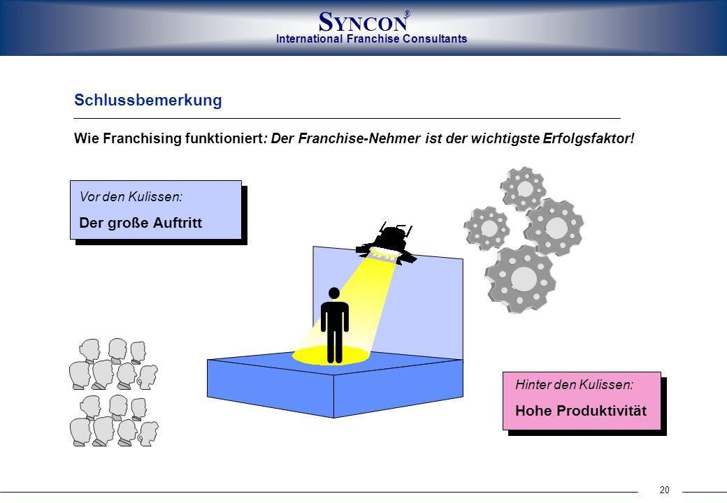 20 International Franchise Consultants S YNCON ® Wie Franchising funktioniert: Der Franchise-Nehmer ist der wichtigste Erfolgsfaktor! Schlussbemerkung