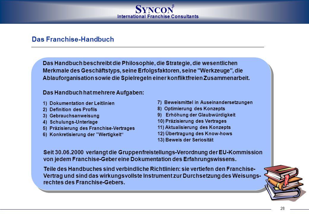 28 International Franchise Consultants S YNCON ® Das Franchise-Handbuch Das Handbuch beschreibt die Philosophie, die Strategie, die wesentlichen Merkm