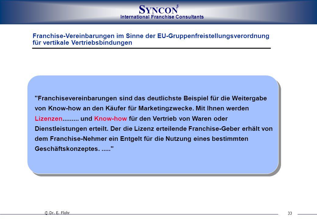 33 International Franchise Consultants S YNCON ® Franchise-Vereinbarungen im Sinne der EU-Gruppenfreistellungsverordnung für vertikale Vertriebsbindun