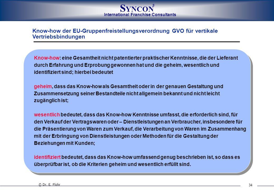 34 International Franchise Consultants S YNCON ® Know-how der EU-Gruppenfreistellungsverordnung GVO für vertikale Vertriebsbindungen © Dr. E. Flohr Kn