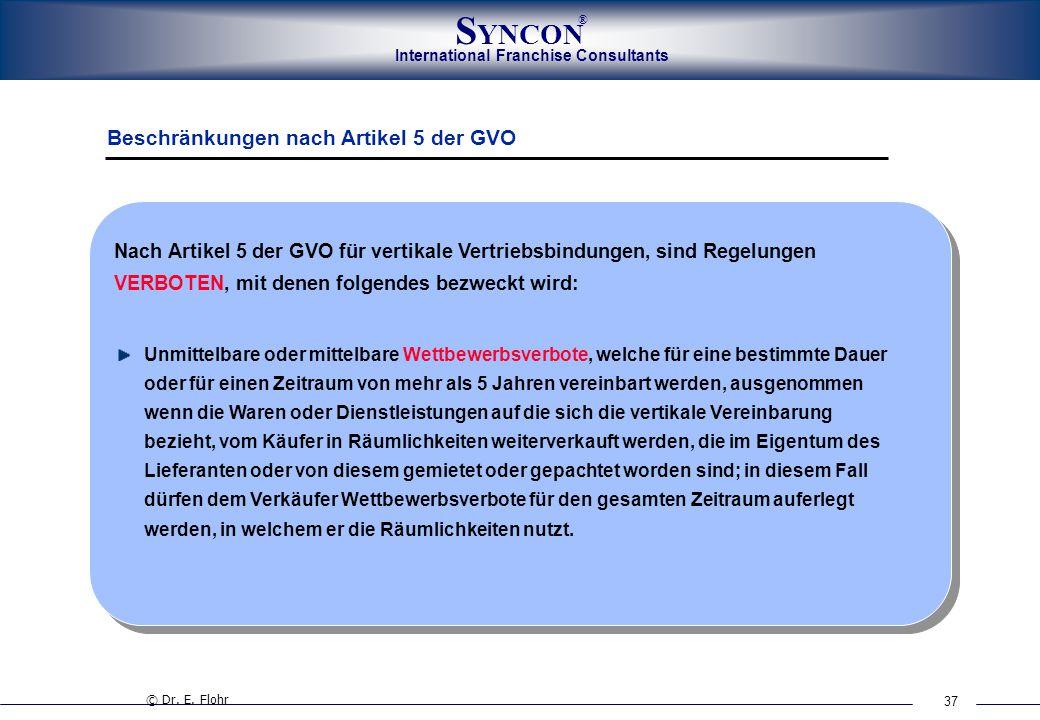 37 International Franchise Consultants S YNCON ® Beschränkungen nach Artikel 5 der GVO Unmittelbare oder mittelbare Wettbewerbsverbote, welche für ein