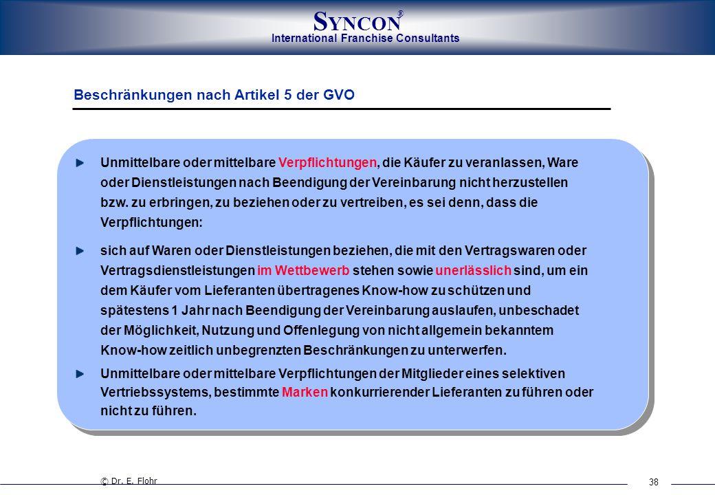 38 International Franchise Consultants S YNCON ® Beschränkungen nach Artikel 5 der GVO Unmittelbare oder mittelbare Verpflichtungen, die Käufer zu ver