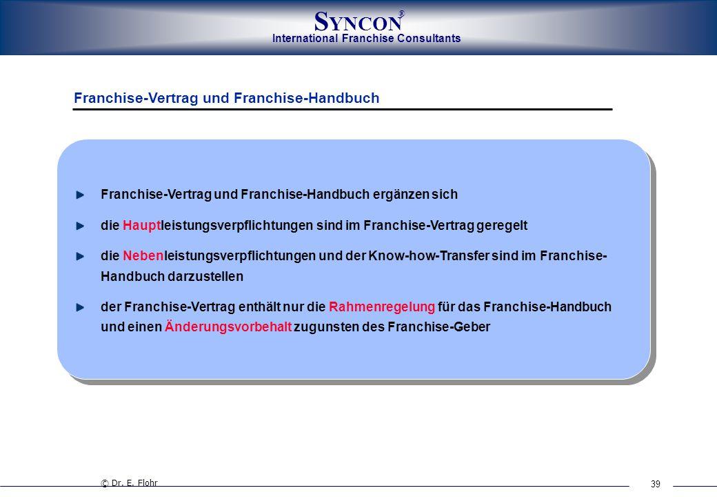 39 International Franchise Consultants S YNCON ® Franchise-Vertrag und Franchise-Handbuch ergänzen sich die Hauptleistungsverpflichtungen sind im Fran