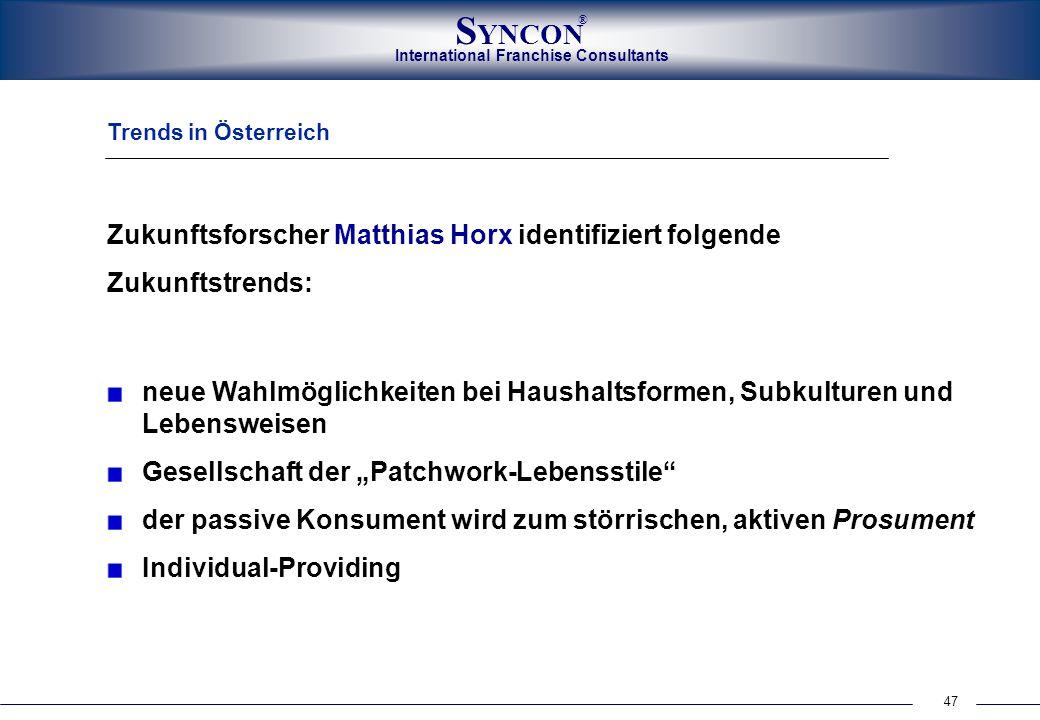 47 International Franchise Consultants S YNCON ® Trends in Österreich Zukunftsforscher Matthias Horx identifiziert folgende Zukunftstrends: neue Wahlm