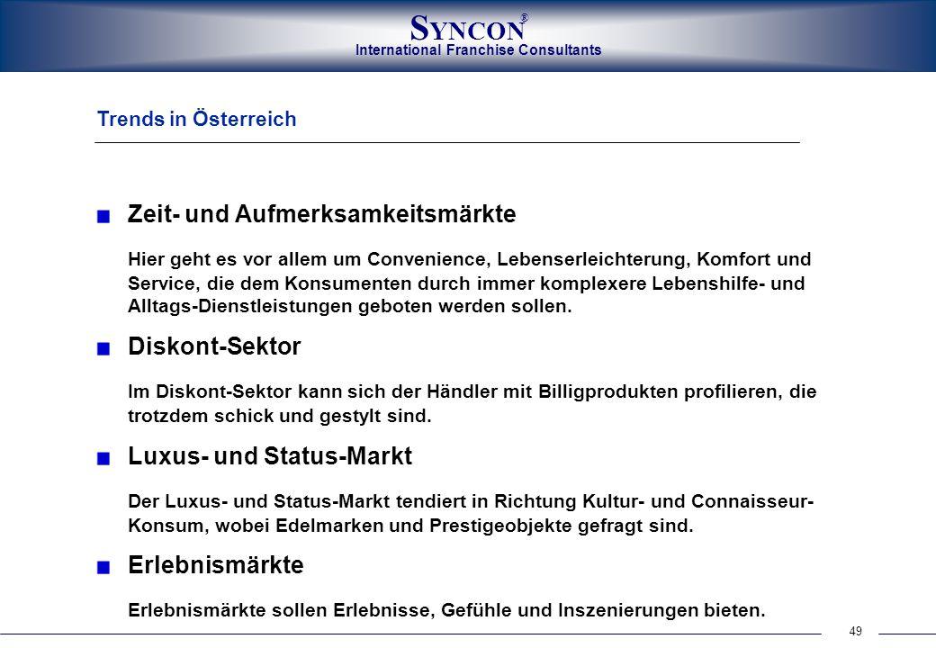 49 International Franchise Consultants S YNCON ® Trends in Österreich Zeit- und Aufmerksamkeitsmärkte Hier geht es vor allem um Convenience, Lebenserl