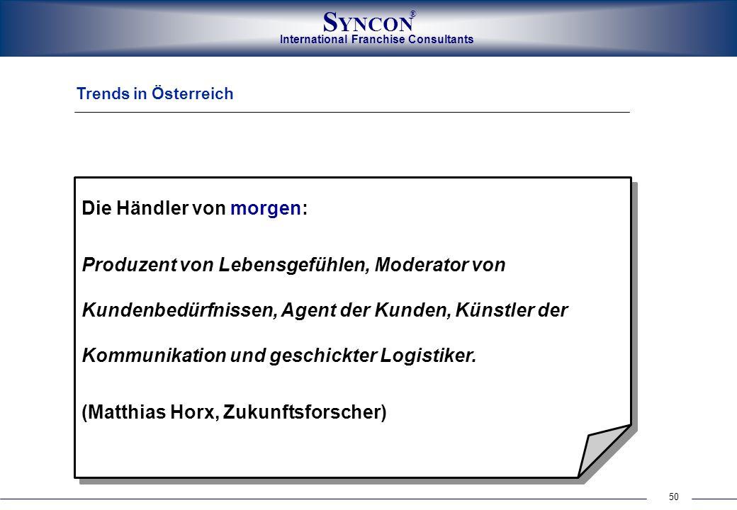 50 International Franchise Consultants S YNCON ® Trends in Österreich Die Händler von morgen: Produzent von Lebensgefühlen, Moderator von Kundenbedürf