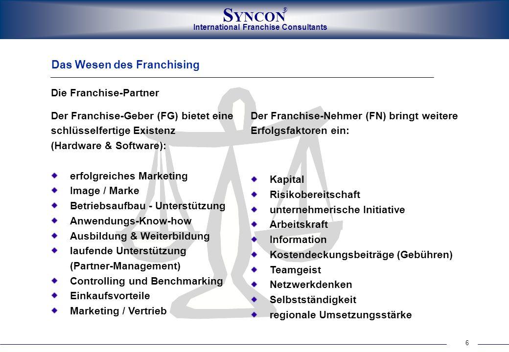 6 International Franchise Consultants S YNCON ® Das Wesen des Franchising Die Franchise-Partner Der Franchise-Geber (FG) bietet eine schlüsselfertige