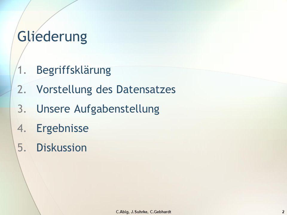 C.Abig, J.Suhrke, C.Gebhardt2 Gliederung 1.Begriffsklärung 2.Vorstellung des Datensatzes 3.Unsere Aufgabenstellung 4.Ergebnisse 5.Diskussion