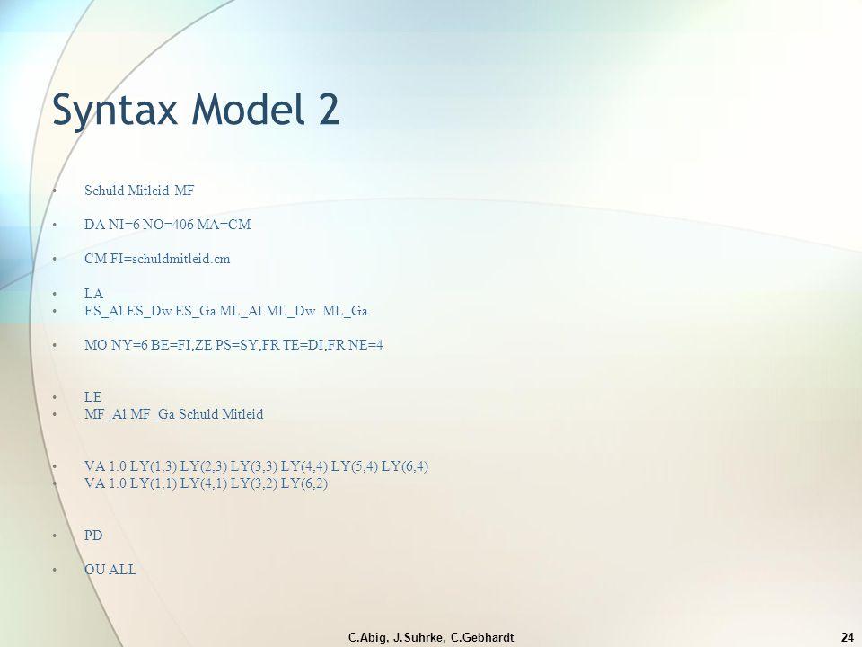 C.Abig, J.Suhrke, C.Gebhardt24 Syntax Model 2 Schuld Mitleid MF DA NI=6 NO=406 MA=CM CM FI=schuldmitleid.cm LA ES_Al ES_Dw ES_Ga ML_Al ML_Dw ML_Ga MO NY=6 BE=FI,ZE PS=SY,FR TE=DI,FR NE=4 LE MF_Al MF_Ga Schuld Mitleid VA 1.0 LY(1,3) LY(2,3) LY(3,3) LY(4,4) LY(5,4) LY(6,4) VA 1.0 LY(1,1) LY(4,1) LY(3,2) LY(6,2) PD OU ALL