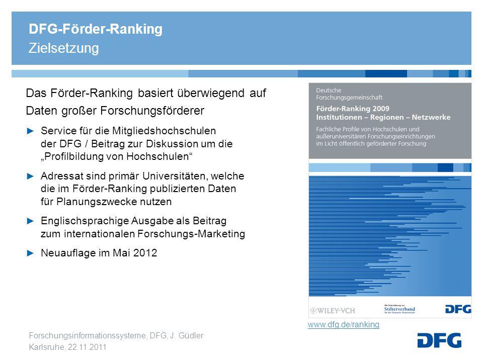 Forschungsinformationssysteme, DFG, J. Güdler Karlsruhe, 22.11.2011 Das Förder-Ranking basiert überwiegend auf Daten großer Forschungsförderer ► Servi