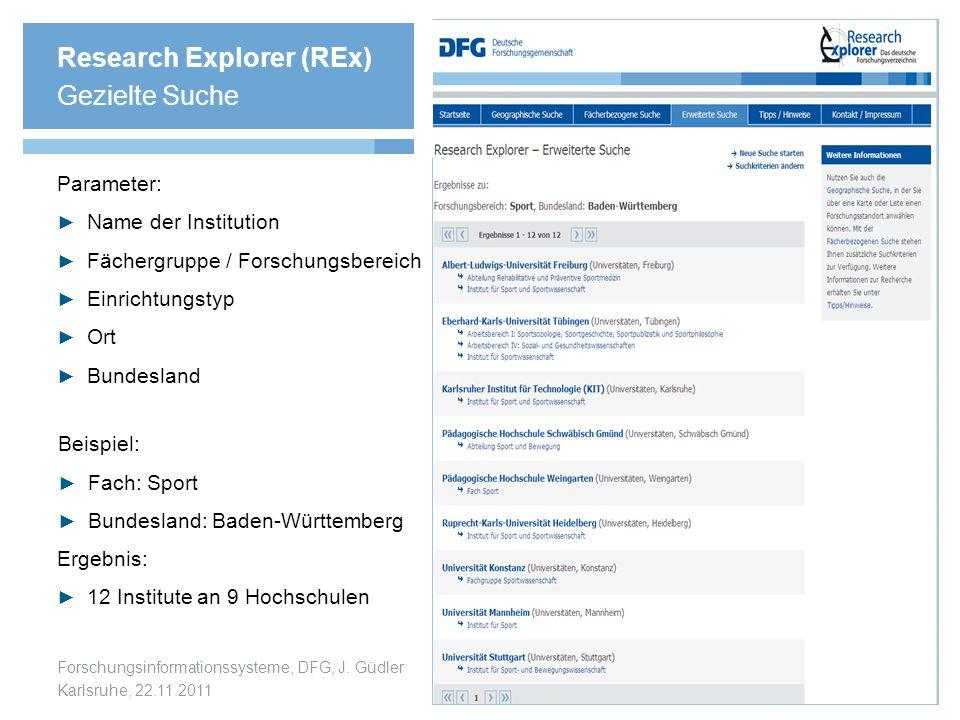 Forschungsinformationssysteme, DFG, J. Güdler Karlsruhe, 22.11.2011 Research Explorer (REx) Gezielte Suche Parameter: ► Name der Institution ► Fächerg