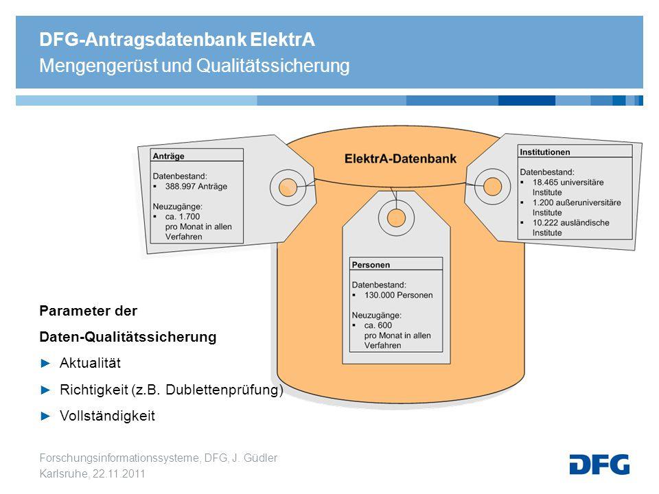 Forschungsinformationssysteme, DFG, J. Güdler Karlsruhe, 22.11.2011 DFG-Antragsdatenbank ElektrA Mengengerüst und Qualitätssicherung Parameter der Dat