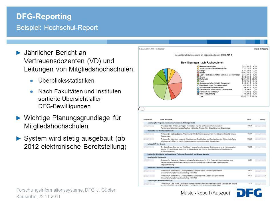 Forschungsinformationssysteme, DFG, J. Güdler Karlsruhe, 22.11.2011 DFG-Reporting Beispiel: Hochschul-Report ► Jährlicher Bericht an Vertrauensdozente