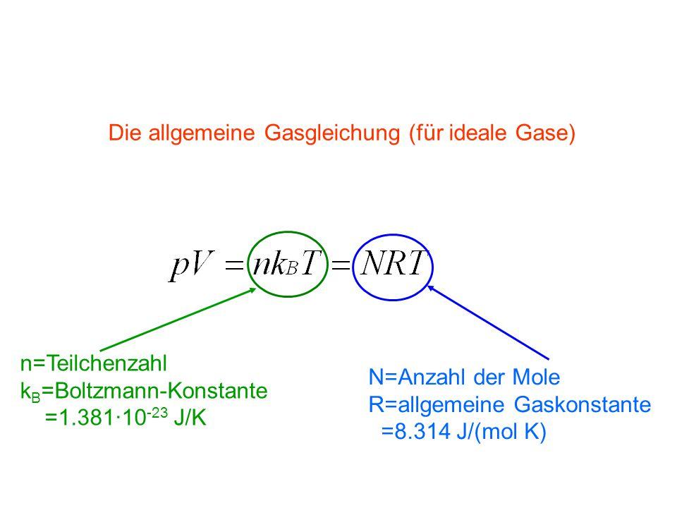 n=Teilchenzahl k B =Boltzmann-Konstante =1.381∙10 -23 J/K N=Anzahl der Mole R=allgemeine Gaskonstante =8.314 J/(mol K) Die allgemeine Gasgleichung (für ideale Gase)