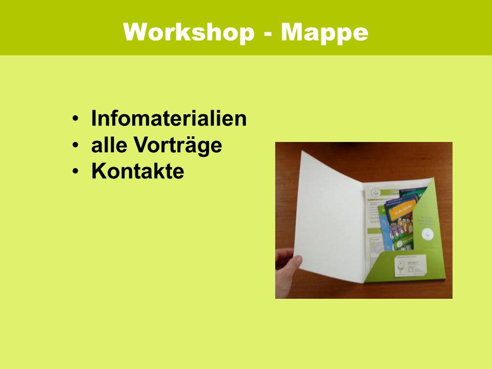 Workshop - Mappe Infomaterialien alle Vorträge Kontakte